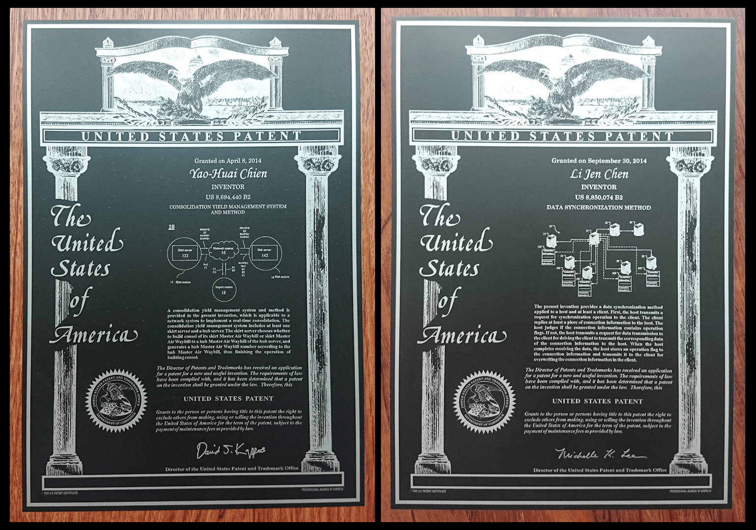 US Patent certificates side by side
